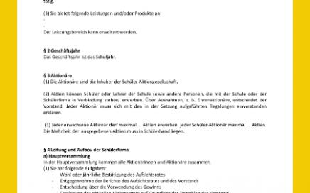 Vorschaubild des Dokuments Satzung für eine Schüler-Aktiengesellschaft