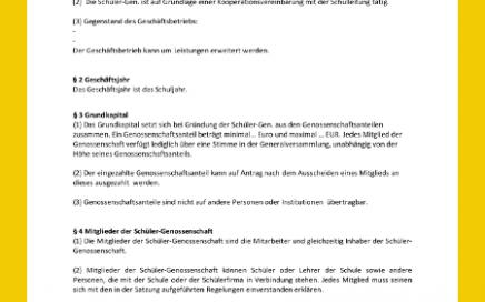 Vorschaubild des Dokuments Satzung für eine Schülergenossenschaft