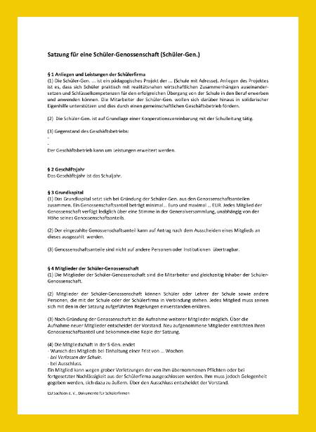 Satzungen für eine Schüler-Genossenschaft