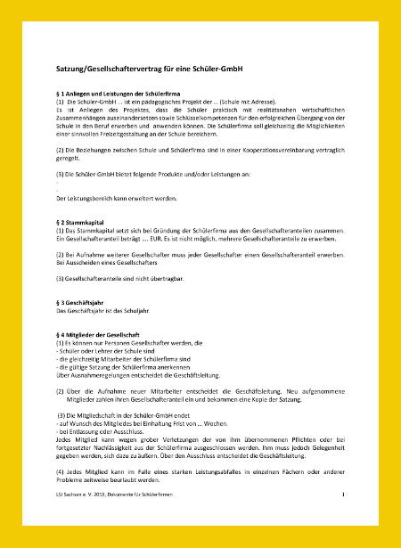 Vorschaubild des Dokuments Satzung/Gesellschaftervertrag für eine Schüler-GmbH