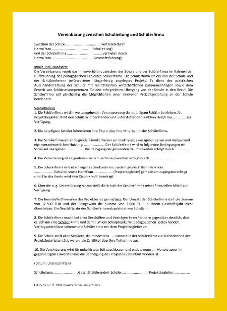 Vereinbarung zwischen Schulleitung und Schülerfirma