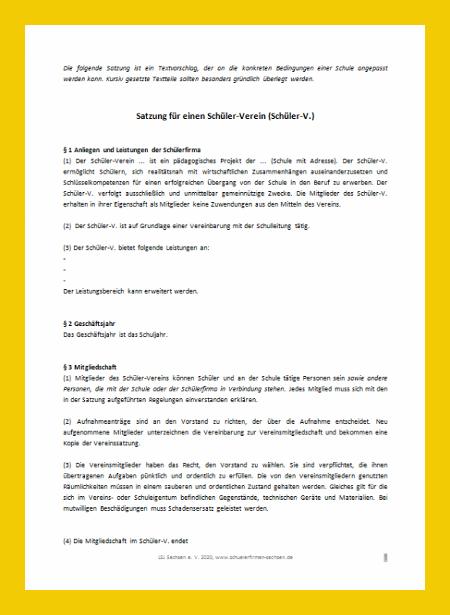 Vorschaubild des Dokuments Satzung für Schülerverein